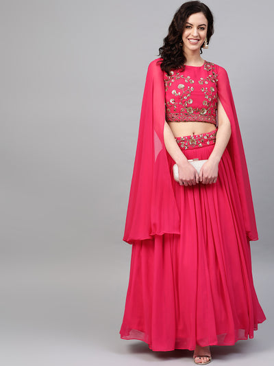 Chhabra 555 Made-to-Measure Crop Top Skirt Set with Flared Slit Cape Style Sleeves and Sequin Crystal embroidery
