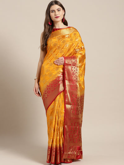 Chhabra 555 Yellow Red Gharchola pattern Banarasi Saree with Zari woven floral motifs
