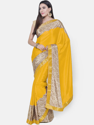 Chhabra 555 Yellow Satin Silk Saree with floral print and a woven Border