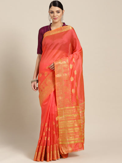 Chhabra 555 Pink Banarasi Saree with Zari woven paisley and floral motifs