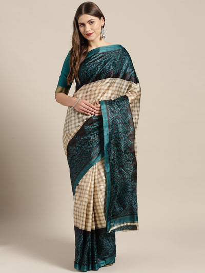Chhabra 555 Turquoise Printed Bhagalpuri Saree with Tribal Animal and Human Motifs