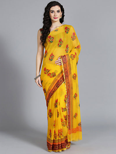 Chhabra 555 Yellow Chiffon Saree with lightweight and Beautiful Floral Pattern Traditonal Saree