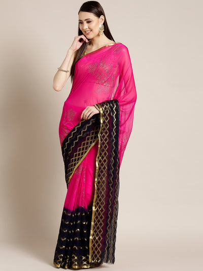 Chhabra 555 Pink Blue Ombre Hand-dyed saree in Khaddi Georgette with Mukaish inspired Gold print Pattern