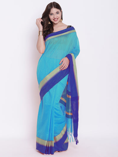 Chhabra 555 Blue Handloom Cotton Silk Saree with Contrast Gold Red Border and Tasseled edges