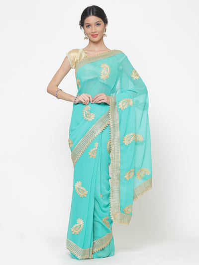 Chhabra 555 Turquoise blue Georgette Saree With Resham Embroidery