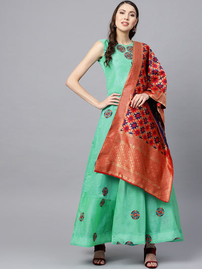 Chhabra 555 Made to Measure Turquoise Anarkali Kurta Set with  and Kantha embroidery and Banarasi dupatta