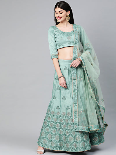 Chhabra 555 Teal Silk Unstitched Lehenga set with Zari, Resham embroidery in floral motifs