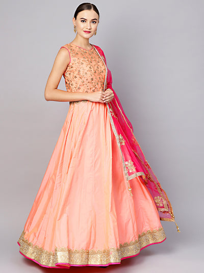 Chhabra 555 Peach Made To Measure Anarkali Zari-work Suit with Embroidered Dupatta