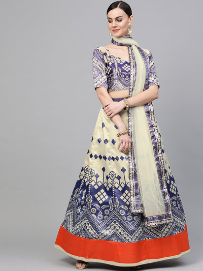 Chhabra 555 Blue Satin Silk Semi-stitched Digital Print Lehenga Set with floral Motifs