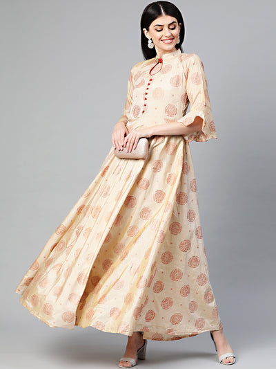 Chhabra 555 Made to Measure Anarkali Printed Kurta Dress with Copper block print and bell sleeves