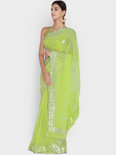 Chhabra 555 Lime Green Georgette Saree With Gotta Patti & Resham Embroidery and Paisley motifs