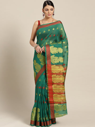 Chhabra 555 Teal green Chanderi Silk saree with Zari and Resham weaving in a floral pattern
