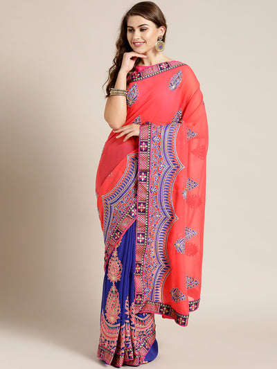 Chhabra 555 Georgette Half-and-half saree with Resham Embroidery and Floral Zari Border