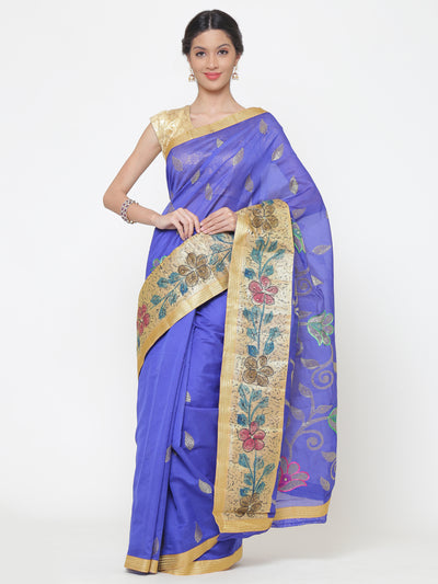 Chhabra 555 Chanderi Blue Cotton Silk saree with multicolor Resham and zari embroidery to make beautiful tulip floral motifs