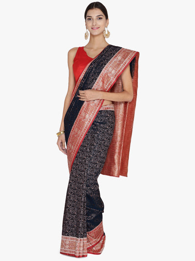 Chhabra 555 Black & Red Woven Design Banarasi Silk Saree