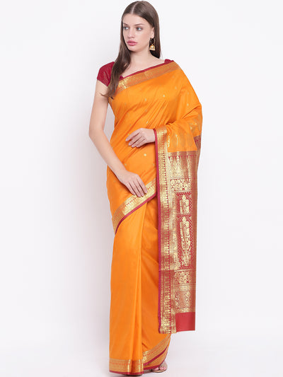 Chhabra 555 Mustard Orange Banarasi Silk Saree with Contrast Red Zari Border