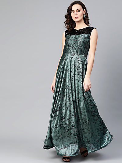 Chhabra 555 Teal Black Cocktail Gown with Sequin embroidered neckline and contemporary animal print
