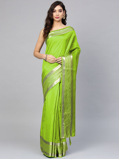 Chhabra 555 Green Satin Silk Saree with zari woven striped pattern and contrast Brocade blouse