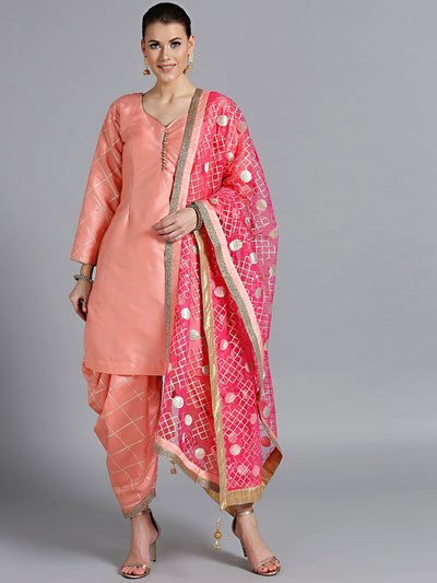 Chhabra 555 Made-to-Measure Peach Gota Patti Kurta with Embroidered Patiala Salwar & Magenta Dupatta