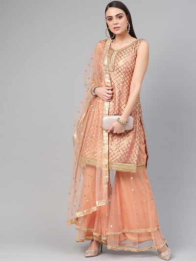 Chhabra 555 Made to Measure Peach Kurta Sharara Set With Sequin embroidery and tassled sharara