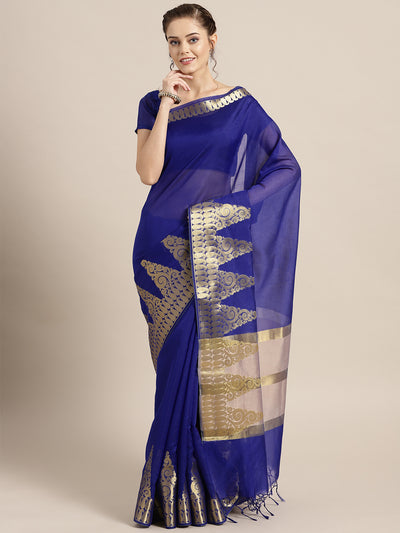 Chhabra 555 Blue Banarasi Handloom Silk Saree with Gold Temple pattern and Paisley border