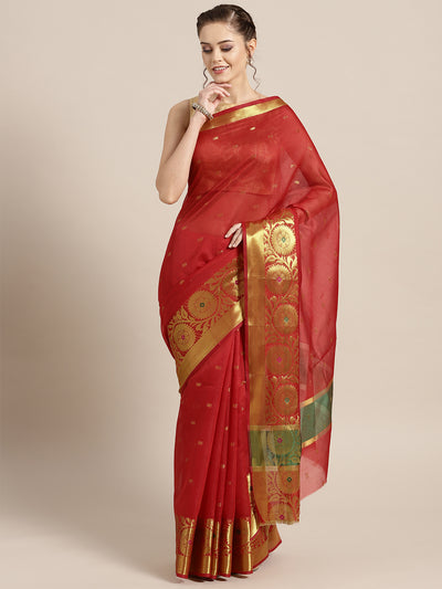 Chhabra 555 Red Banarasi Handloom Silk Saree woven with Resham and Zari Weaving