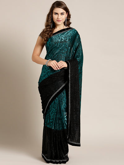 Chhabra 555 Lycra Panelled Teal Black saree with Crystal Embellished border and Self Brocade Pattern