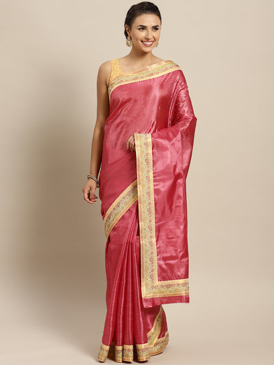 Chhabra 555 Peach Tussar Silk Banarasi saree with meenakari pattern border