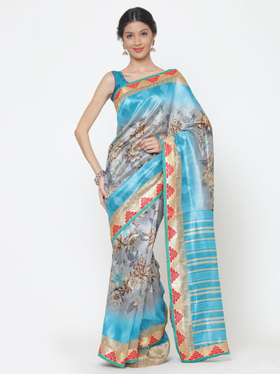 Chhabra 555 Turquoise and Grey Floral Print Art Silk Saree