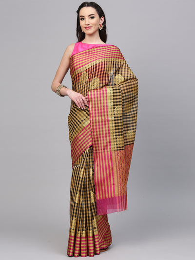 Chhabra 555 Black and Beige Chanderi Silk Woven Printed,Handloom, Zari, Hand Woven with Patola Saree