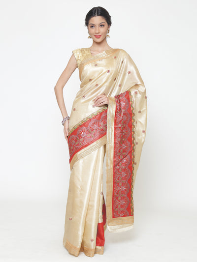 Chhabra 555 Beige Chanderi Silk saree with Resham embroidered Floral pattern