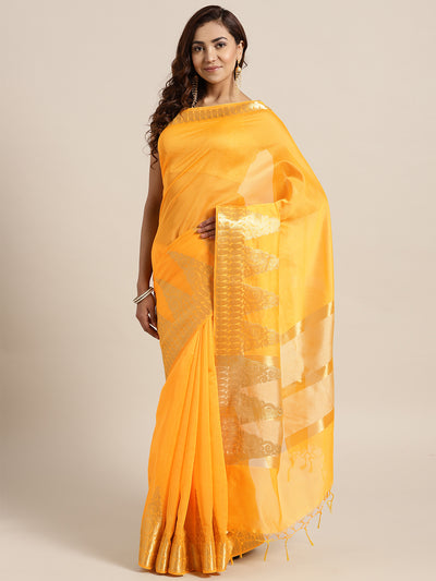 Chhabra 555 Yellow Banarasi Handloom Silk Saree with Gold Temple pattern and Paisley border