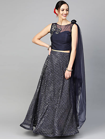Chhabra 555 Made-to-Measure Embroidered Crop Top Lehenga Set with Applique mirror Embellished skirt and Attached draped dupatta