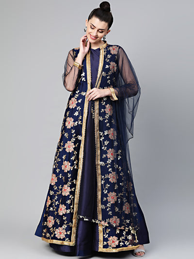 Chhabra 555 Made to Measure Three piece Jacket style Cocktail gown with Resham Zari And Sequin embroidery. Front Open Embroidered Long jacket. Solid Dyed Floor length Gown. Matching Dupatta