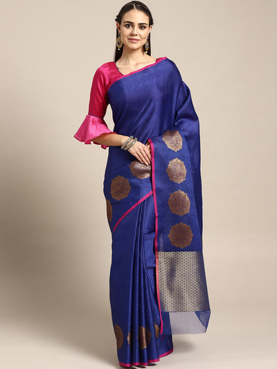 Chhabra 555 Blue Banarasi Brocade Silk saree with Zari weaving in a floral pattern and self embossed ethnic motifs and contrast Pink Blouse