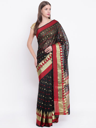 Chhabra 555 Traditional Black Handloom Chanderi Saree with Red and Gold Zari Design
