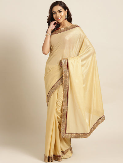Chhabra 555 Gold Stretch georgette Saree with Pearl and Crystal Embellished border