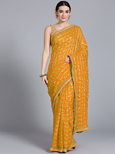 Chhabra 555 Mustard Georgette Gharchola Saree with Zari Weaving and Gota embroidery