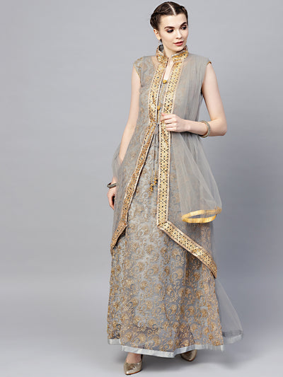 Chhabra 555 Made-to-Measure Grey Net Anarkali Kurta Set with Zari embroidery and matching jacket