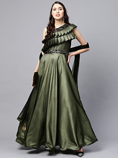 Chhabra 555 Green Embellished Floor length Cocktail Gown with Ruffled neckline and Dupatta