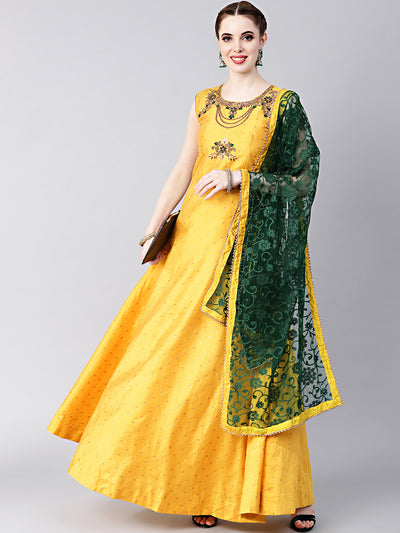 Chhabra 555 Yellow Anarkali Hand crafted Kurta Set with Jeweled Neckline and Embroidered Silk kurta