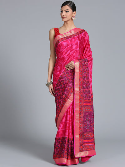 Chhabra 555 Bright Pink Crepe Paisley Print Saree with Zari Woven Border