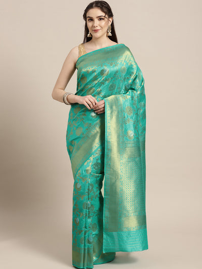 Chhabra 555 Mysore silk saree with Meenakari weaving in a floral pattern and interplay of silver and gold zari