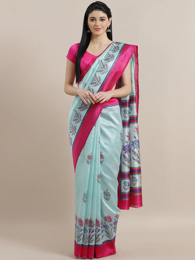 Chhabra 555 Ice Blue Bhagalpuri Silk printed Saree with Floral Digital Design and  Fuchsia Blouse