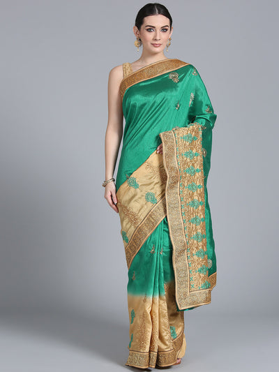 Chhabra 555 Teal to Cream Ombre Saree with Resham Zari Embroidered floral motifs