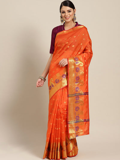 Chhabra 555 Orange Chanderi Silk saree with Zari and Meenakari weaving in a paisley pattern