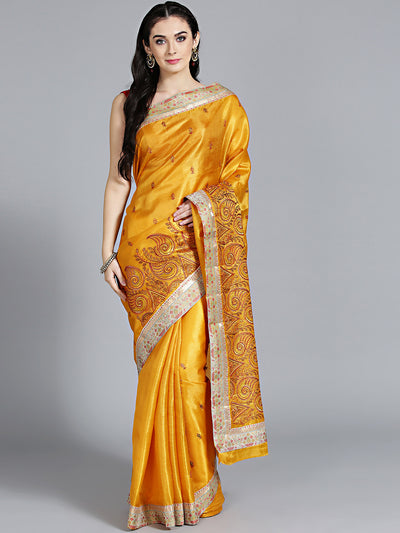 Chhabra 555 Mustard Tussar Silk saree with Resham embroidery and paisley pattern Saree
