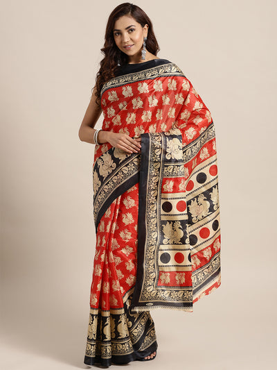 Chhabra 555 Red Black Printed Colorblocked Bhagalpuri Saree with Peacock, and Floral motifs