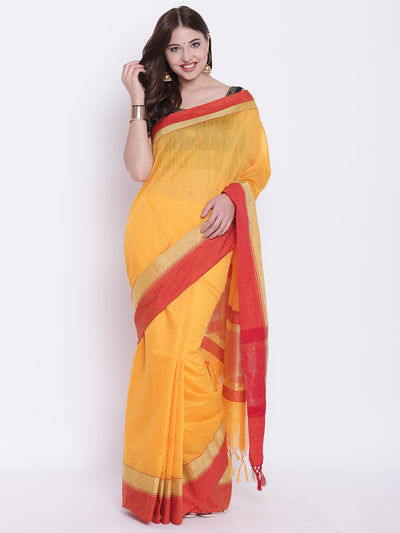 Chhabra 555 Mustard Yellow Handloom Cotton Silk Saree with Contrast Gold Red Border and Tassels
