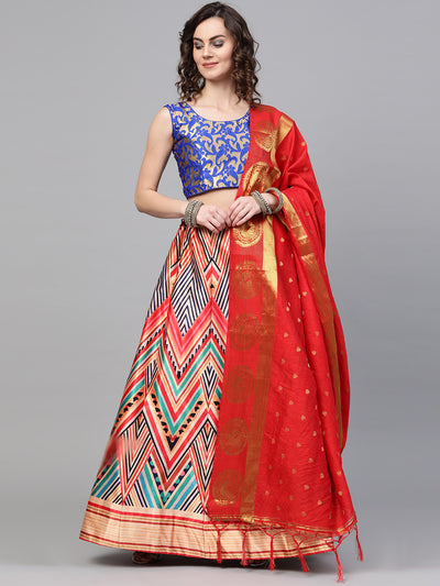 Chhabra 555 Made-to-Measure 3D Digital Print Lehenga with Banarasi Dupatta and Embroidered blouse